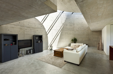 Photo pour beautiful modern house in cement, interior, living room - image libre de droit