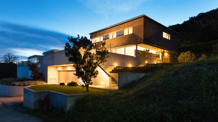 Photo for Architecture modern design, beautiful house, night scene - Royalty Free Image