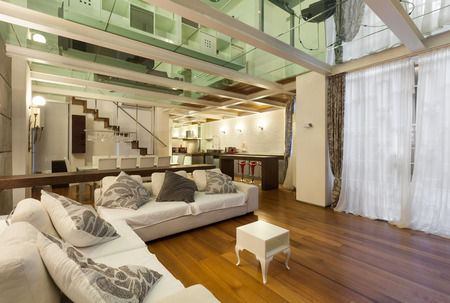 Photo for wide loft with modern furniture in living room - Royalty Free Image
