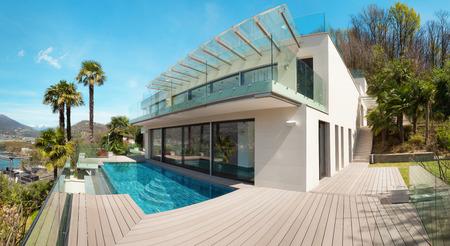 modern house, beautiful patio with pool outdoor