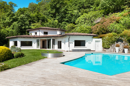 Photo for Architecture, beautiful villa with swimming pool, outdoors - Royalty Free Image