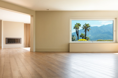 Photo for Architecture, empty living room with large windows - Royalty Free Image