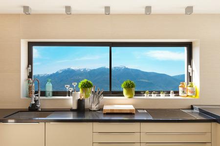 modern house beautiful interiors, detail kitchen