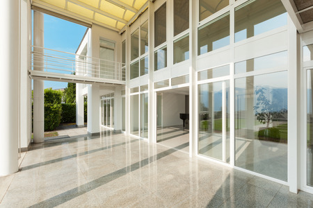 Photo pour Architecture, wide veranda of a modern house, exterior - image libre de droit