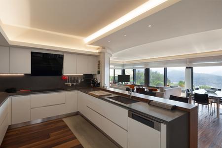 Foto de Interiors, beautiful modern kitchen of a luxury apartment - Imagen libre de derechos