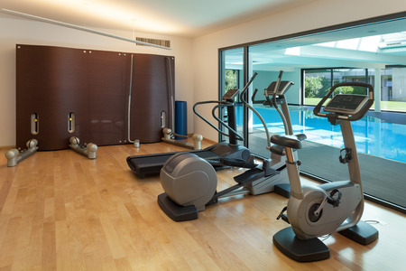Foto de Interior, gym of a modern house with spa - Imagen libre de derechos