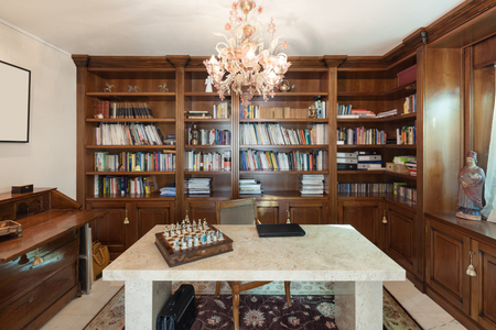 Photo pour office in classic style, marble table in foreground - image libre de droit