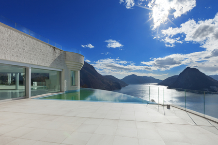 Photo for modern penthouse with infinity pool, exterior - Royalty Free Image