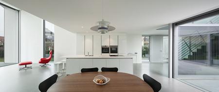 Photo pour Interior of a beautiful modern house, wide domestic kitchen - image libre de droit