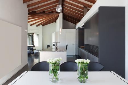 Interior Of A Loft Wide Open Space Dining Table Modern Design Lizenzfreie Bilder Und Fotos