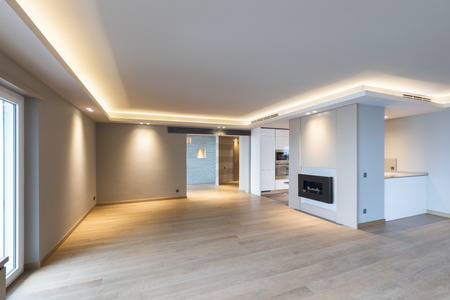 Photo for Large living room in modern apartment with led to the ceiling. Nobody inside - Royalty Free Image