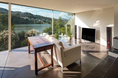 Foto de Living room interior with sofa and dream view - Imagen libre de derechos