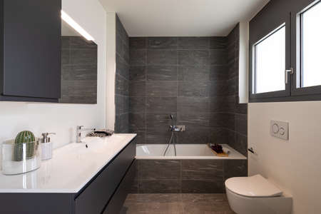 Photo pour Interior of an empty and luxurious modern bathroom, nobody inside. It is a private home - image libre de droit