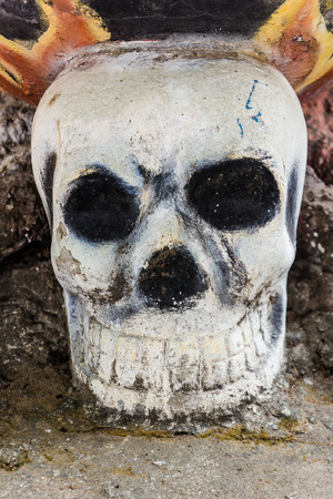 human bone and skull in the temple  in Thailand .