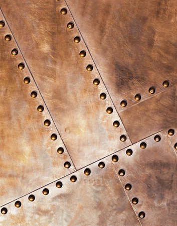 Structure of old metal with rivets