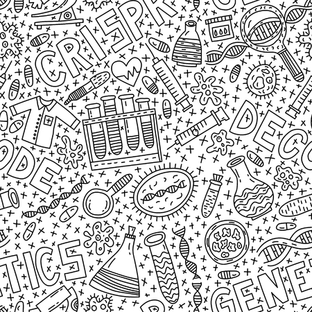 Genetics seamless pattern with lettering and doodles