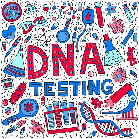 DNA testing. Lettering with doodle illustration