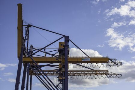 Photo for Cranes at the port of Palermo for handling cargo loads - Royalty Free Image
