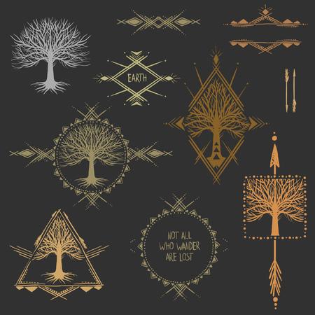 Illustration pour Set of symmetrical graphic design elements. - image libre de droit