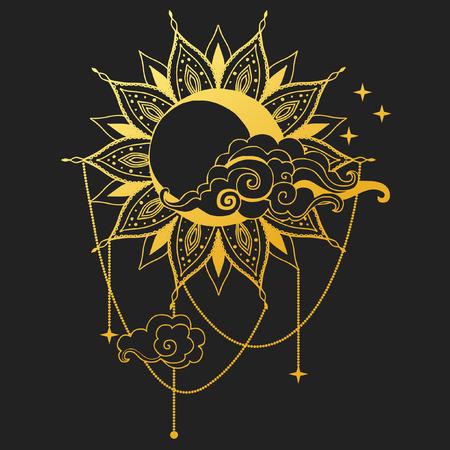 Moon and Sun on black background. Vector illustration