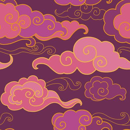 Illustration pour Traditional oriental ornament in purple tones. Clouds on the sky. Vector seamless pattern - image libre de droit
