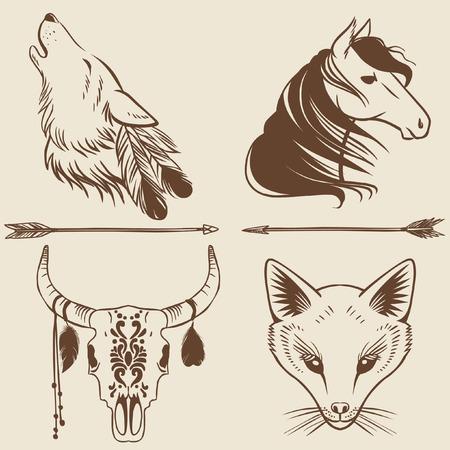 Vector Hand Drawn Animal Heads Tattoo Sketches Logo Design
