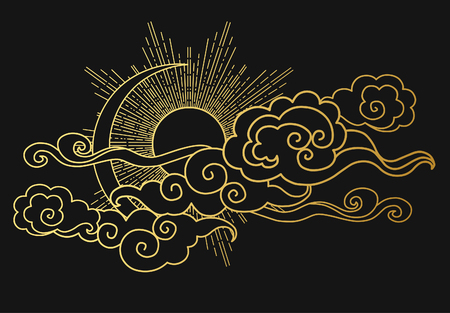 Illustration pour Sun and moon in the cloudy sky. Decorative graphic design element. Vector illustration in oriental style - image libre de droit