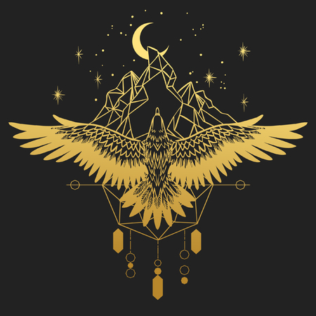 Photo pour Soaring bird of prey. Gold silhouette on black background. Vector hand drawn illustration. Template for temporary tattoo, t-shirt print and other - image libre de droit