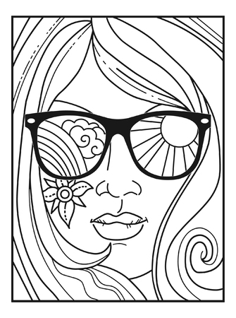 Illustration pour Vector illustration for adult coloring book in retro 70s style. Woman's face in sunglasses - image libre de droit