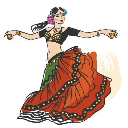 Pretty tribal dancer in motion on white background. Vector hand drawing illustration
