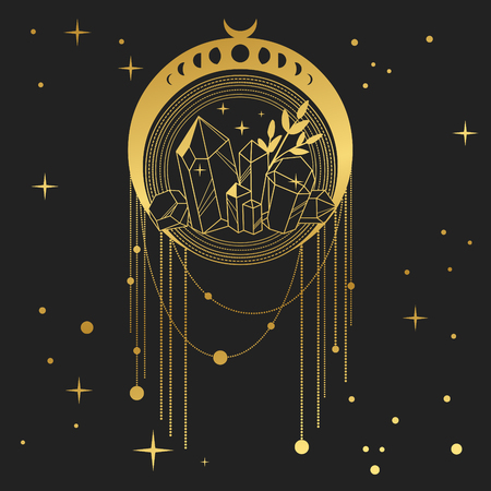 Illustration pour Dream catcher with crystals and moon phases. Vector hand drawn illustration in boho style - image libre de droit