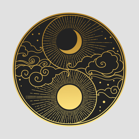 Ilustración de Decorative graphic design element in oriental style. Sun, Moon, clouds, stars. Vector hand drawing illustration - Imagen libre de derechos