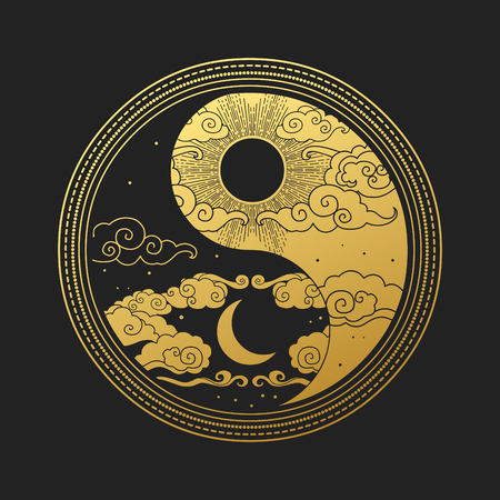 Illustration for Decorative graphic design element in oriental style. Sun, Moon, clouds, stars. Vector hand drawing illustration - Royalty Free Image