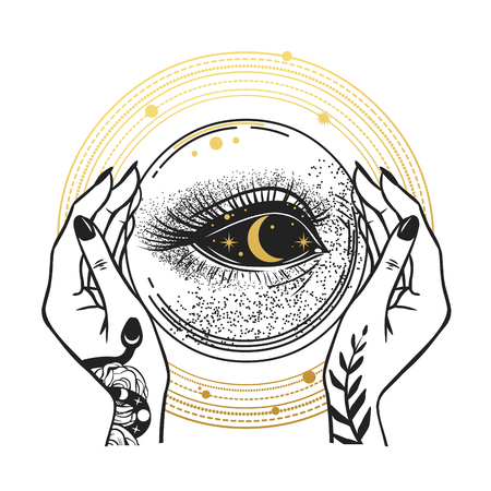 Illustration pour The Darkness inside of the crystal ball. T-shirt prints, temporary tattoos and other designs - image libre de droit