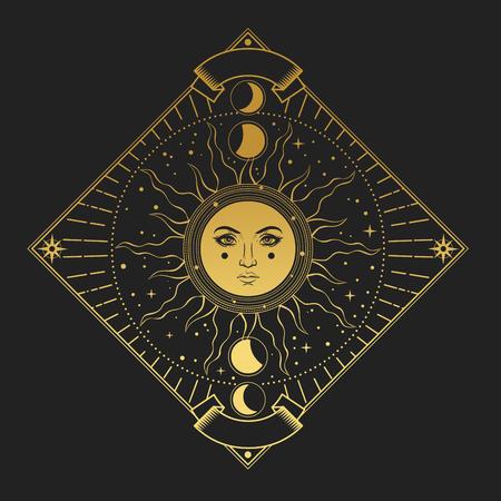 Illustration pour illustration in magic vintage style. Golden ornate frame with sun on black background - image libre de droit