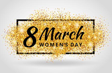 Illustration pour 8 march women day. Gold glitter. Gold background for poster, sign, banner, web, header. Abstract golden background for eighth march. Gold blur background. - image libre de droit