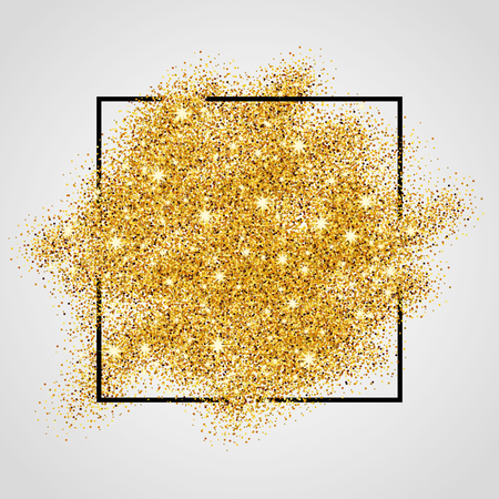 Ilustración de Gold sparkles on white background in frame. Gold glitter background. Gold background for card, vip, exclusive, certificate, gift, luxury, privilege, voucher, store, present, shopping. - Imagen libre de derechos