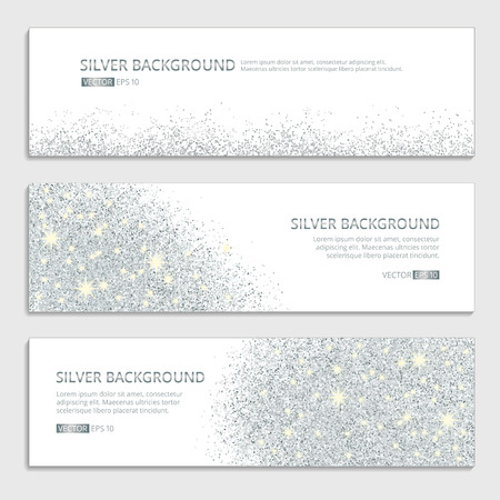 Silver sparkles on white background, banners. Silver banner with text. Banners , web, card. Vip certificate, gift, luxury privilege voucher, store present  shopping sale header.