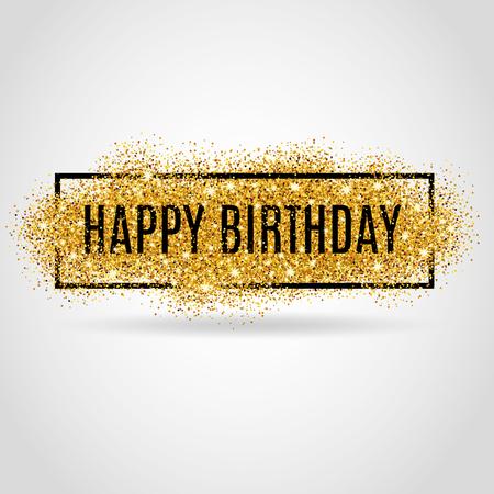 Illustration for Gold sparkles background Happy Birthday. Happy Birthday background. Greeting background for card,  poster sign web postcard, invitation. Gold blur background. - Royalty Free Image