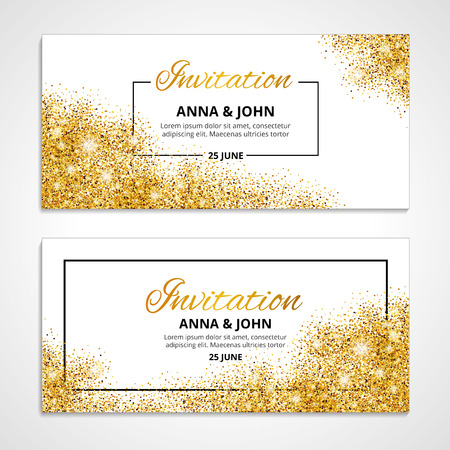 Ilustración de Gold wedding invitation for wedding, background, anniversary marriage engagement. - Imagen libre de derechos