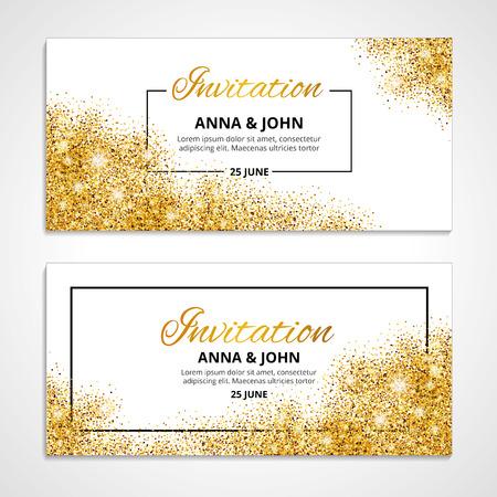 Illustration pour Gold wedding invitation for wedding, background, anniversary marriage engagement. - image libre de droit