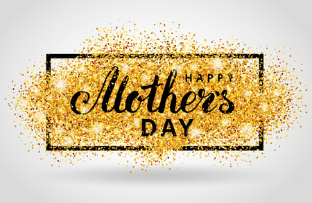 Photo pour Happy Mother day gold glitter background. Golden design in frame, border for greeting card, flyer poster, sign, banner, web header. Abstract sparkle texture for mothers day. Light blur sequin. - image libre de droit