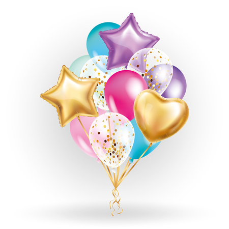 Ilustración de Heart star Gold balloon Bouquet. Frosted party balloons event design. Balloons isolated in the air. Party decorations for wedding, birthday, celebration, love, valentines, kids. Color transparent balloon - Imagen libre de derechos