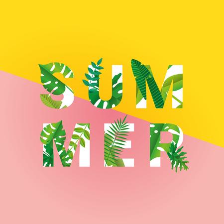 Illustration pour Tropical summer time paper background - image libre de droit