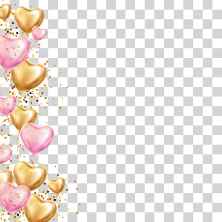 Illustration pour Gold Heart balloon valentines day. Pink Hearts balloon on background. Party decoration, event design, balloons for wedding, invitation, birthday, celebration. Greeting card, you are invited - image libre de droit