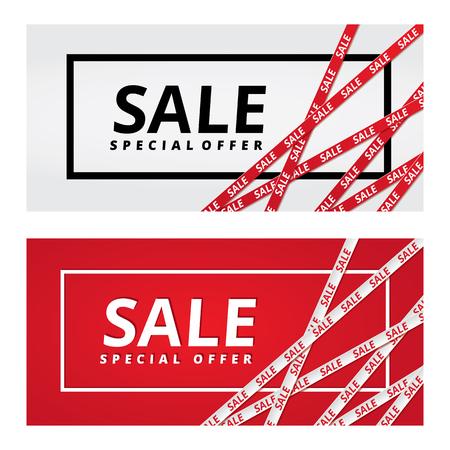 Illustration pour Christmas sale red tape ribbon background - image libre de droit