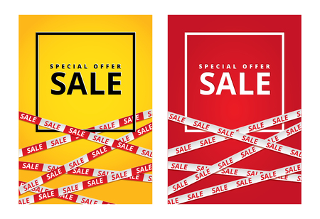 Ilustración de Red and yellow sale tape ribbon card - Imagen libre de derechos