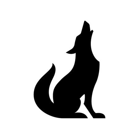 Illustration pour Howling coyote vector silhouette - image libre de droit