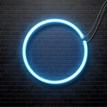Illustartion of neon blue circle isolated on black brick wall
