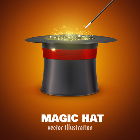 Illustartion of vector MAGIC HAT with red ribbon